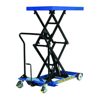 This is what a hydraulic platform lift looks like when fully extended.