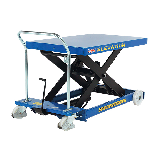This is an example of a small, blue hydraulic platform lift.